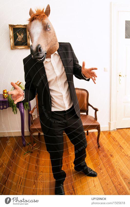 LP.HORSEMAN. XIV Innenarchitektur Dekoration & Verzierung Party Veranstaltung Karneval Halloween maskulin Mann Erwachsene 1 Mensch Anzug Pferd Tier sprechen