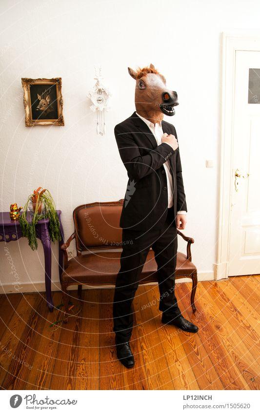 LP.HORSEMAN. XIII Mensch Tier Stil Lifestyle Wohnung maskulin Häusliches Leben verrückt Bekleidung Gemüse Bank Pferd Maske Karneval gruselig Anzug