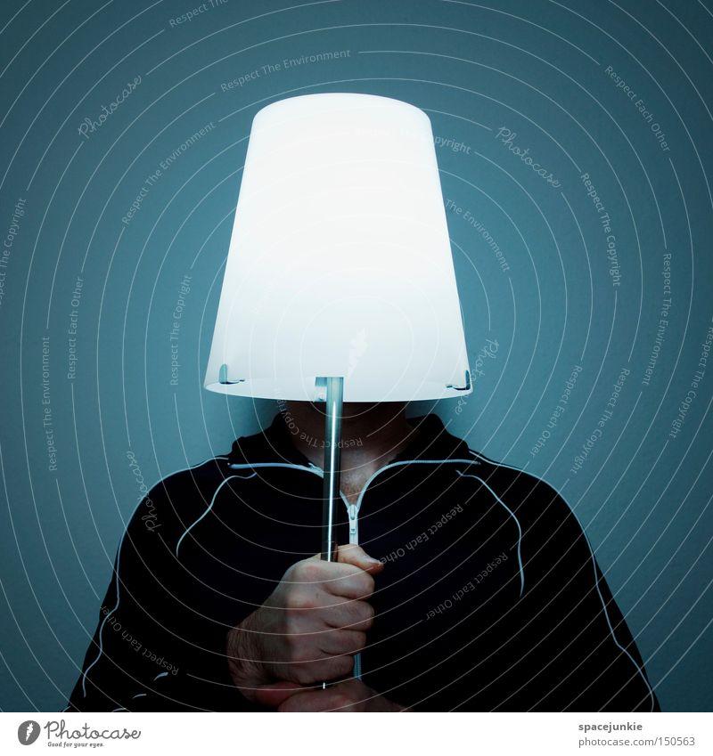 Light Mann Hand Freude Lampe Beleuchtung Elektrizität festhalten Glühbirne Stromkraftwerke Versteck