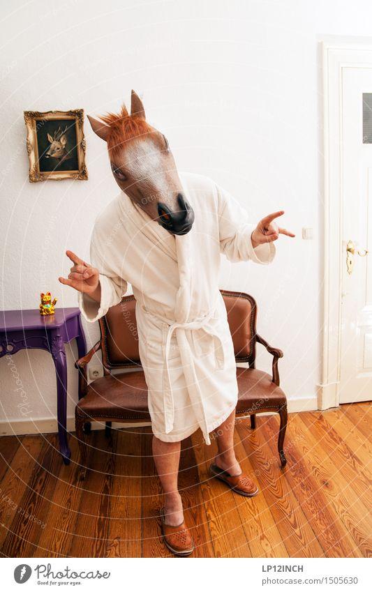 LP.HORSEMAN. V Design Häusliches Leben Wohnung Innenarchitektur Halloween maskulin Junger Mann Jugendliche 1 Mensch Bademantel Pferd Tier Feste & Feiern retro
