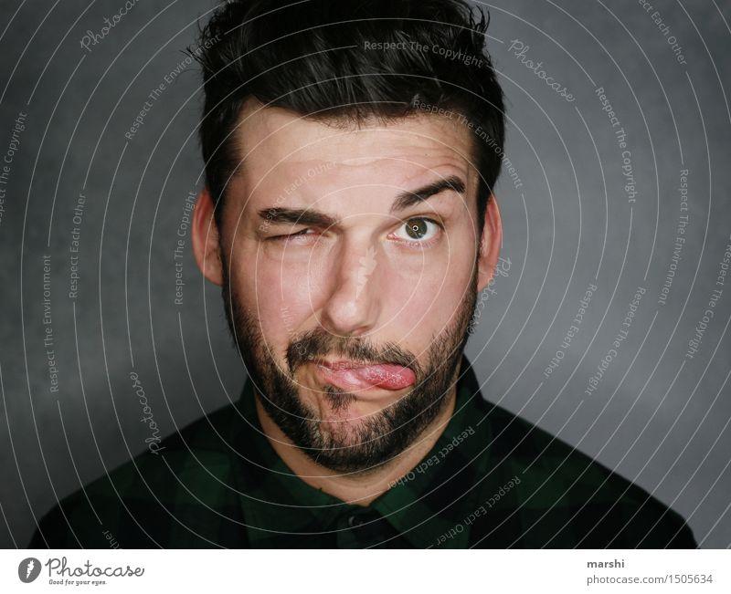 Man(n) muss verrückt sein! Lifestyle Stil Freizeit & Hobby Mensch maskulin Junger Mann Jugendliche Erwachsene Kopf 1 30-45 Jahre Mode schwarzhaarig brünett