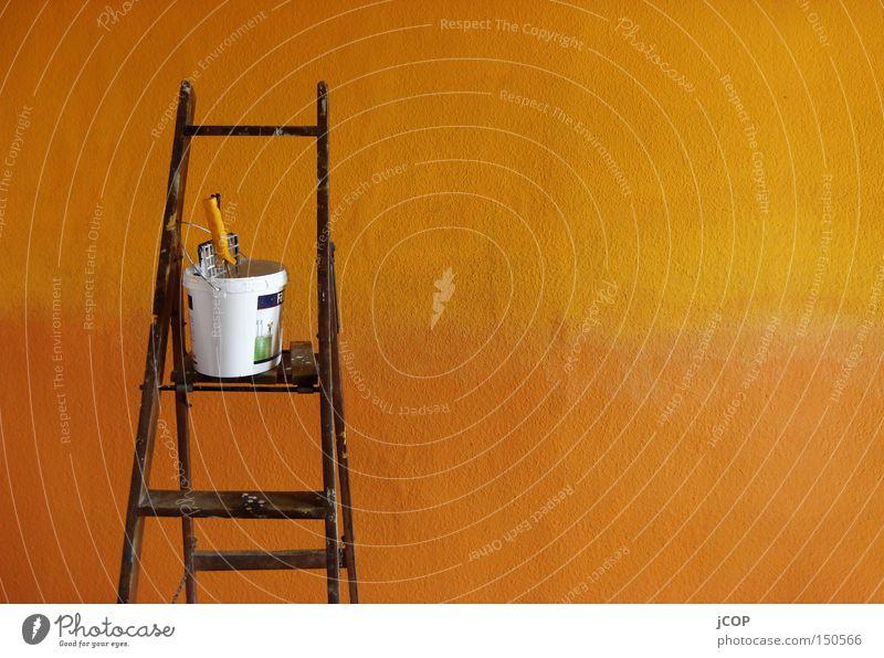Streiche(l) Mich! streichen Maler Farbe Leiter Wärme Tapete Wand Verlauf Pinsel Fleck nass feucht Ordnung Dienstleistungsgewerbe
