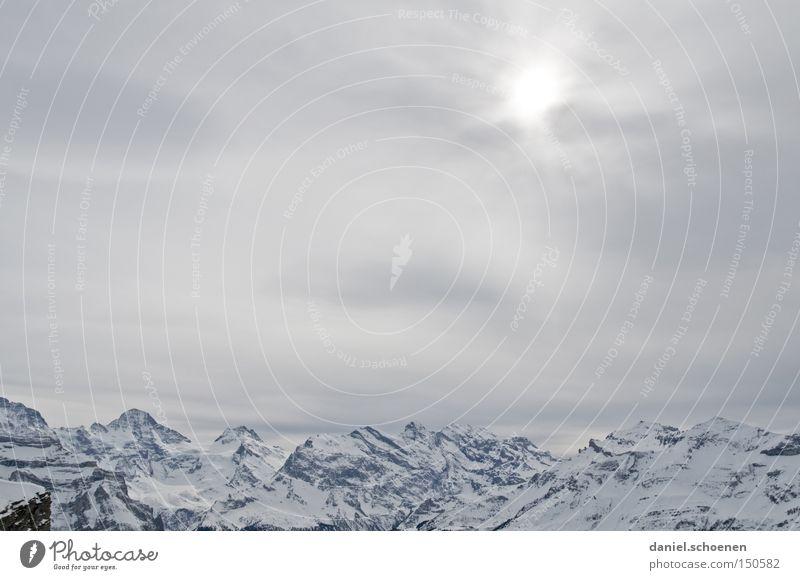 Grindelwald 3 weiß Gipfel Gletscher Skitour Alpen Eis Wetter Bergsteigen Himmel Sonne Winter Berge u. Gebirge Schnee