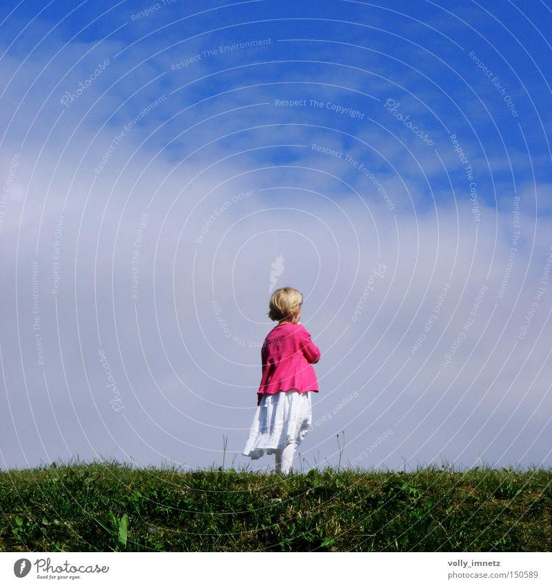 little pink blues Mensch Himmel blau ruhig Wolken Einsamkeit Wiese Glück Denken Zufriedenheit rosa gehen Horizont Hoffnung Frieden Kleid