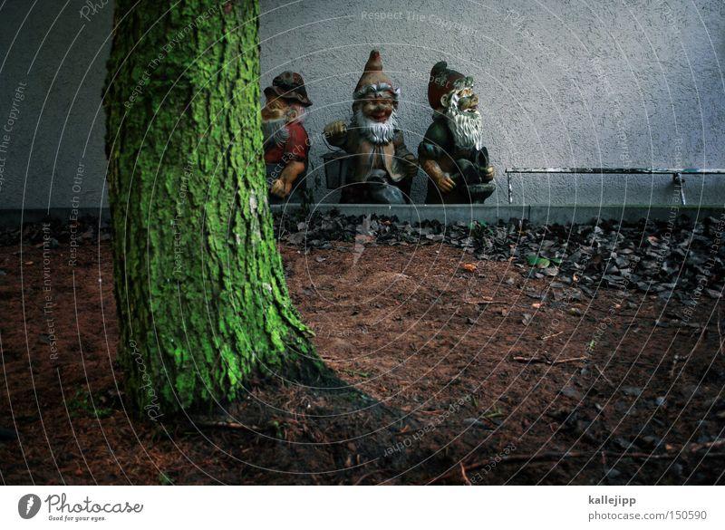hinter den sieben bergen Baum Haus klein Menschengruppe Garten Park 3 Dekoration & Verzierung Vergangenheit Bart Baumstamm Figur Märchen Erzählung Zwerg Geschichtsbuch