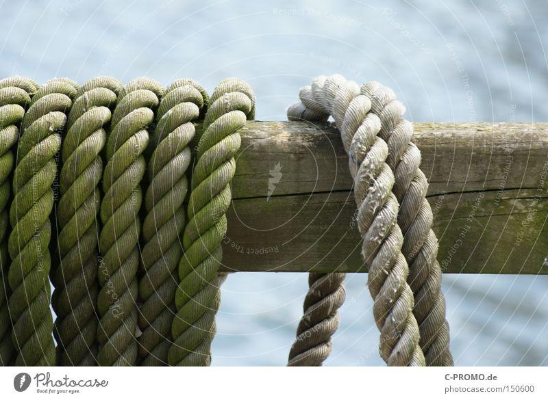Einst trauten zwei Taue... Wasserfahrzeug Seil Hafen fest Handwerk maritim Befestigung losgelöst Balken