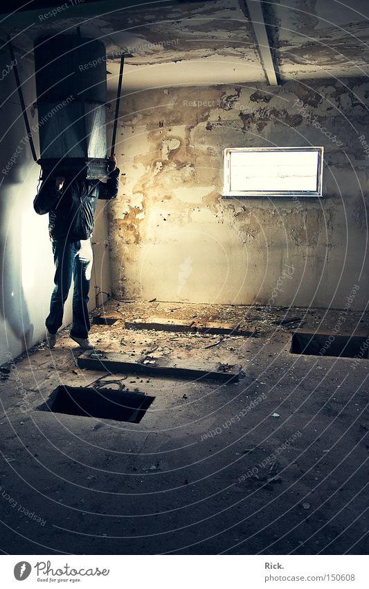 .The Big Bad Brainsucker Mensch Mann alt Wand Fenster Gebäude Raum Vergänglichkeit verfallen Ruine Loch Kreativität Halt Demontage Örtlichkeit Schacht