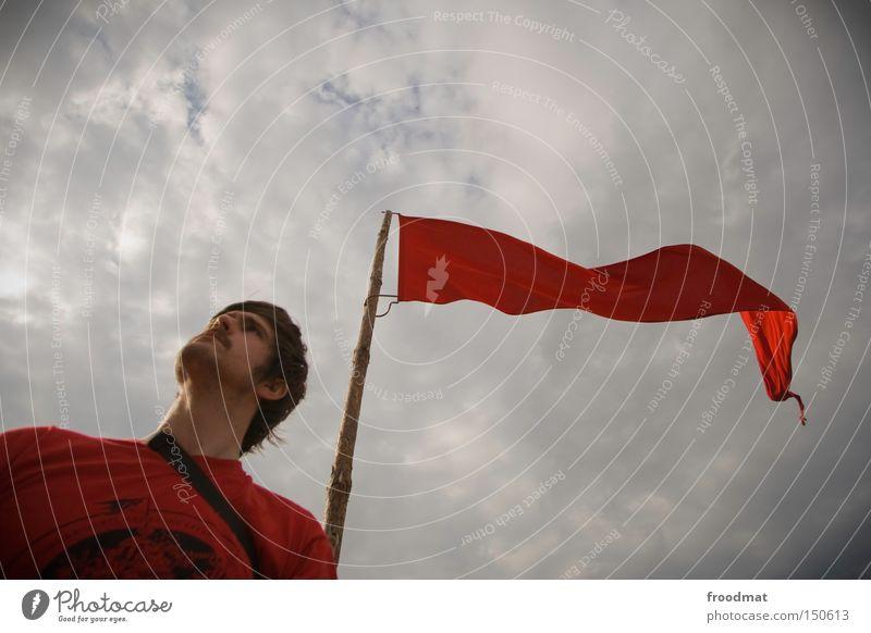 Frieden Genossen Mann Himmel rot Kraft Macht Fahne Gastronomie kämpfen Kapuze Politik & Staat Hongkong Sozialismus Fusion Kommunismus utopisch