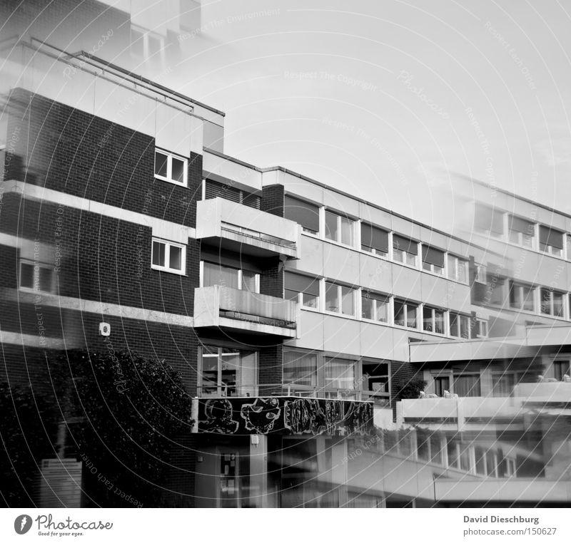 Gedoppelte Schule Haus Fenster Mauer Gebäude Tür Schulgebäude Bauwerk Schüler Eingang Doppelbelichtung Prisma Schliere