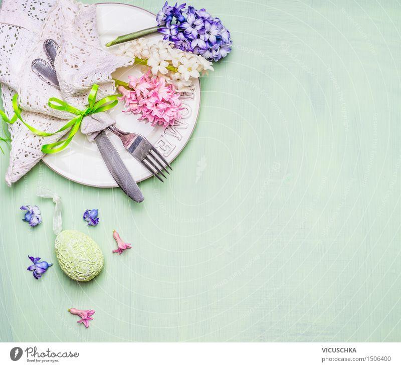 Ostern Tisch Gedeck mit Blumen und Ei Innenarchitektur Hintergrundbild Stil Feste & Feiern Party Design Wohnung Häusliches Leben Dekoration & Verzierung