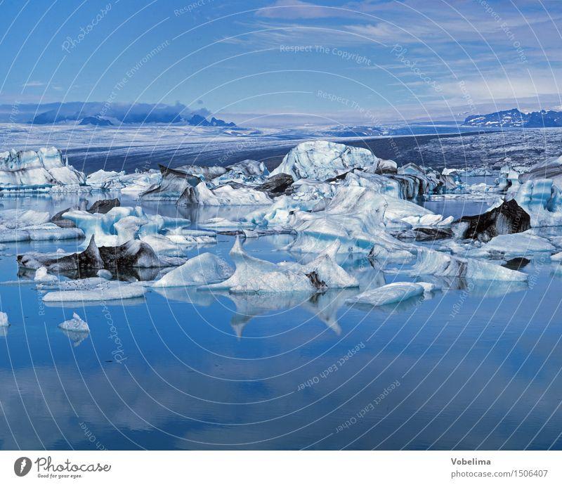 Jökulsarlon, Island Himmel Natur Ferien & Urlaub & Reisen blau Wasser weiß Landschaft See Wetter Urelemente Klimawandel Eisberg Jökulsárlón Gletschereis
