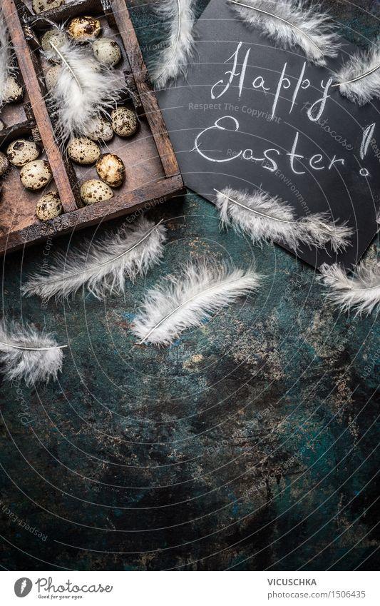 Happy Easter Hintergrund mit Wachteleier Leben Stil Hintergrundbild Holz Lifestyle Feste & Feiern Party Design Dekoration & Verzierung Feder Tisch retro Ostern