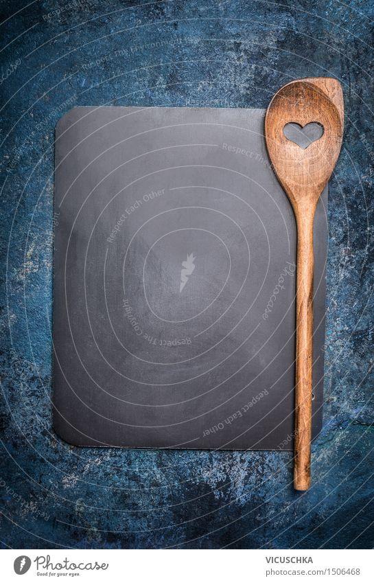 Leere Tafel mit Kochlöffel auf rustikalem Hintergrund blau schwarz Speise Stil Hintergrundbild Holz Party Design Ernährung leer Herz Kochen & Garen & Backen