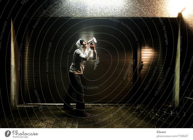 schreihals Mensch Metall Kommunizieren schreien Tor Pullover Garage Kapuze gestreift Megaphon Schreihals