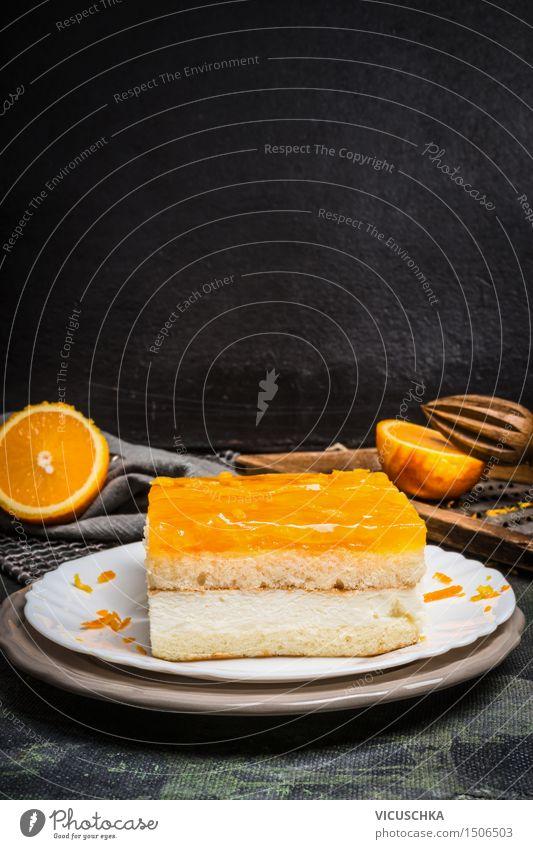 Orangenkuchen vom Blech Lebensmittel Frucht Kuchen Dessert Süßwaren Ernährung Abendessen Büffet Brunch Geschirr Teller Stil Design Häusliches Leben Tisch