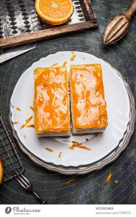 Orangenkuchen mit Fruchtzuckerguss gelb Stil Lebensmittel Wohnung Design Ernährung Tisch Kochen & Garen & Backen Küche Süßwaren Restaurant Kuchen Dessert Teller