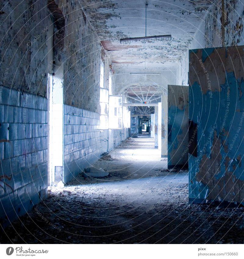 Eiswürfelgang Einsamkeit Farbe Fenster Gebäude Tür offen Vergänglichkeit verfallen Fliesen u. Kacheln Putz obskur Flur Unbewohnt Renovieren Gang Altbau