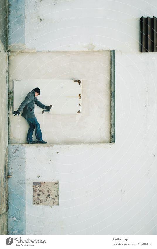 klinkenputzer Mann Mensch Tür Wand festhalten stoppen Griff Vertreter drehen verdreht weiß Ganzkörperaufnahme Dienstleistungsgewerbe staubsaugerverkäufer