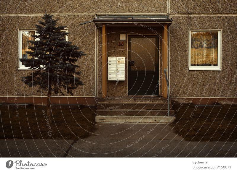 Ungeschmückt Plattenbau Tanne Eingang Briefkasten DDR altmodisch Wohnung Häusliches Leben Kommunizieren Osten Nostalgie Ostalgie Vergangenheit Zeit Architektur