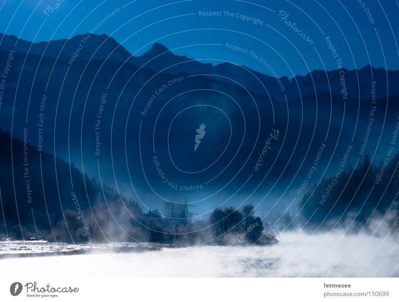 Saukalt wars Fluss Bach Wald Berge u. Gebirge Tal Wasserdampf Rauch Abgas Nebel blau Frost Österreich Winter