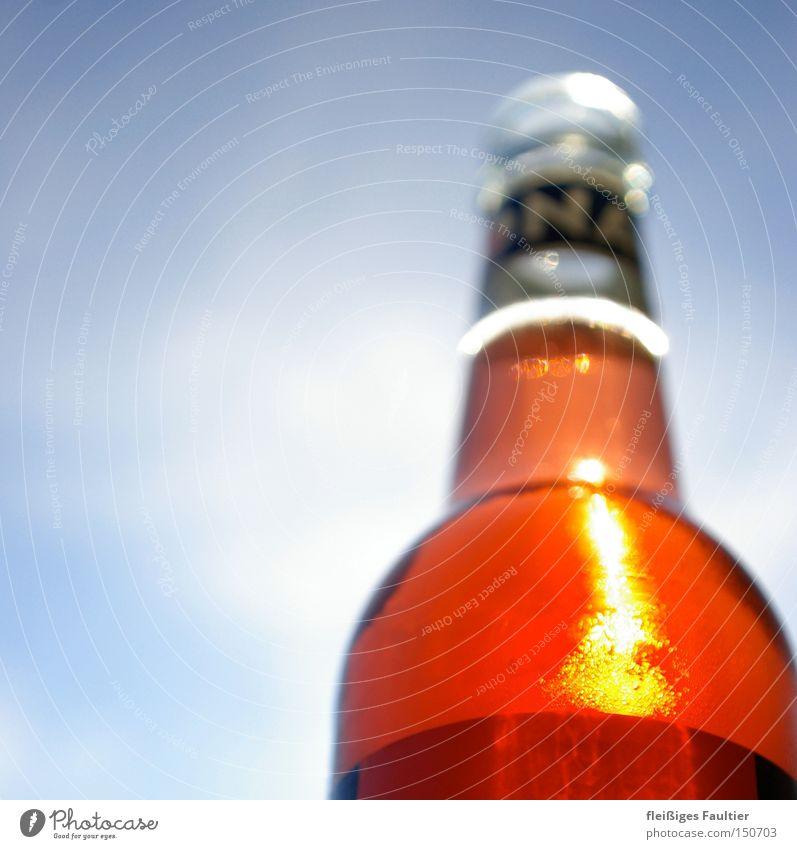ein kühles Rotes Limonade Flasche Reflexion & Spiegelung Himmel trinken Durst Außenaufnahme Bioprodukte perlend Untersicht