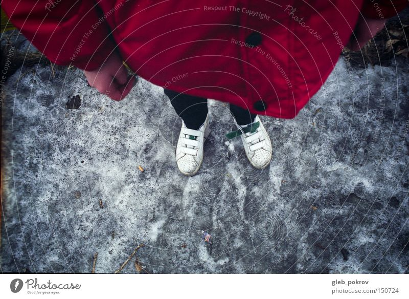 glitschig Hand geschniegelt Schlick Müll Mode Beine Schuhe rot Joker Mensch Dinge Farbe