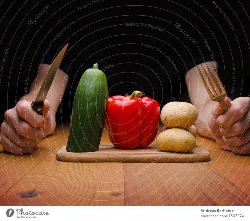 Fleischlos Lebensmittel Gemüse Frucht Vegetarische Ernährung Slowfood Besteck Gesunde Ernährung Mensch maskulin Mann Erwachsene Hand 1 30-45 Jahre Essen Fitness