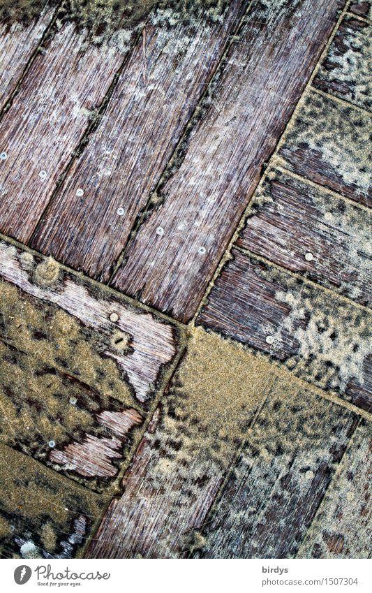 versandet Sand Terrasse Bodenbelag Holzbrett ästhetisch braun gelb grau Symmetrie Wandel & Veränderung Häusliches Leben Holzfußboden Geometrie dreckig