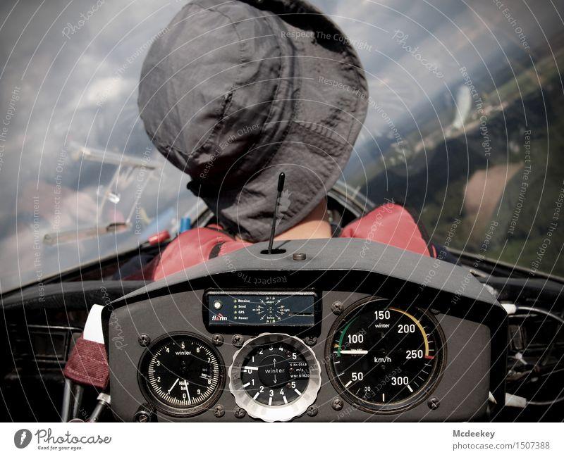Über den Wolken,... Mensch maskulin Junger Mann Jugendliche Kopf Rücken Hals 1 18-30 Jahre Erwachsene Personenverkehr Luftverkehr Flugzeug Sportflugzeug