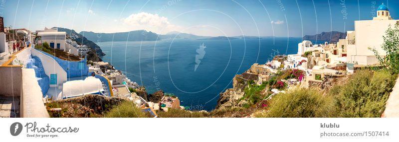 Santorini Insel, Griechenland. Ferien & Urlaub & Reisen Strand Meer Kultur Natur Himmel Dorf Kleinstadt Stadt Kirche Gebäude blau weiß Tradition Panorama Oia