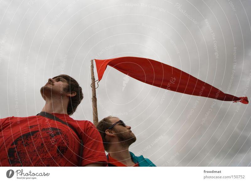 seid bereit Mann Himmel rot Sommer Kommunizieren Fahne Vertrauen Gastronomie kämpfen Mensch Kapuze Politik & Staat Hongkong Sozialismus Fusion Kommunismus