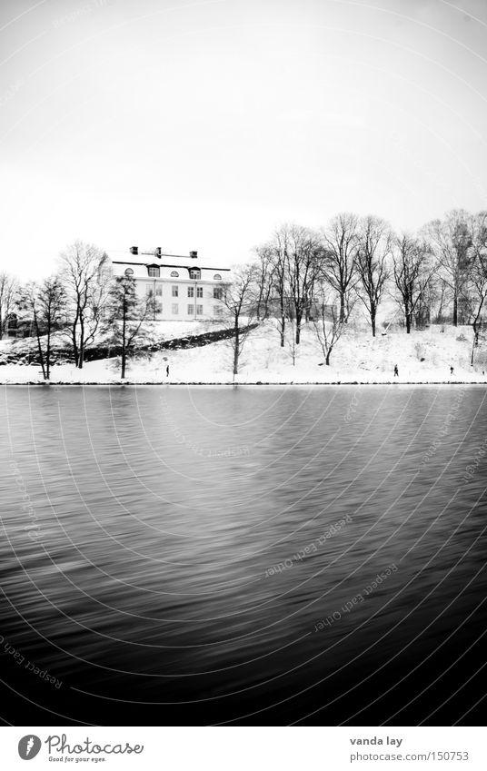 Stockholmer Ansichten II Natur Wasser Baum Winter Haus Einsamkeit kalt Schnee See Landschaft Küste Fluss Häusliches Leben Bach Schweden