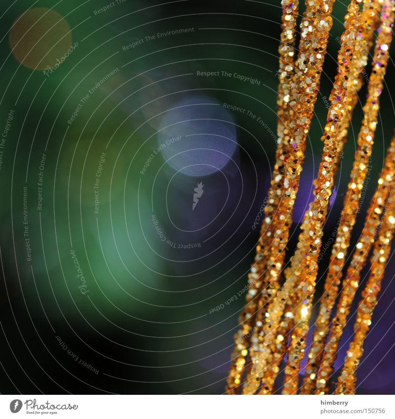 rauschgold Rausch Weihnachten & Advent Weihnachtsdekoration Dekoration & Verzierung Gold Makroaufnahme Nahaufnahme flittergold lametta
