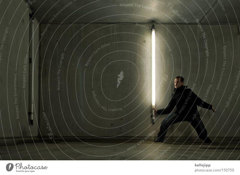 star wars Elektrizität Mann Mensch Licht Energie Ritter Ritterstatue kämpfen Kampfsport Schwert Neonlicht Defensive Angriff Krieg Konkurrenz Sportveranstaltung
