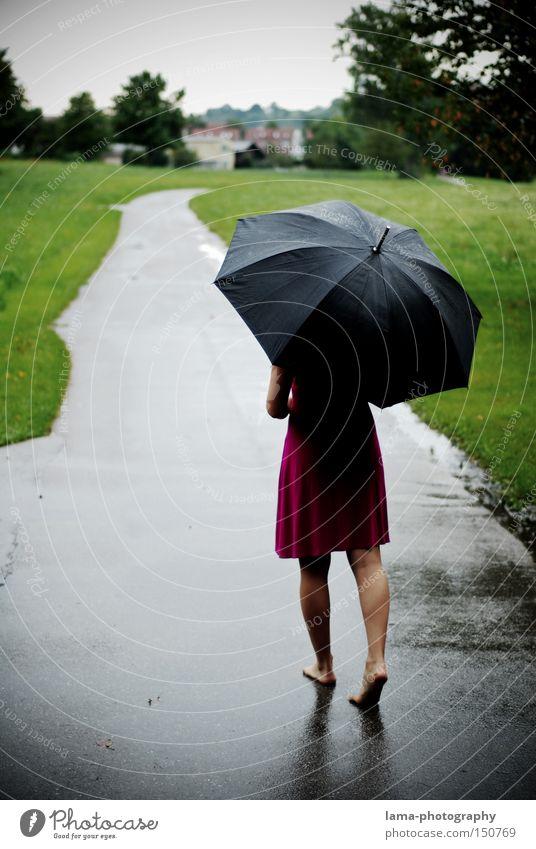 barfuß Frau Regenschirm Gewitter Barfuß Kleid Herbst nass Wege & Pfade Spaziergang Pfütze Wiese Trauer Unbeschwertheit Verzweiflung Traurigkeit