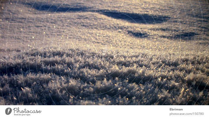 Eisig weiß Winter kalt Schnee See Eis glänzend Frost Spuren gefroren Eiskristall