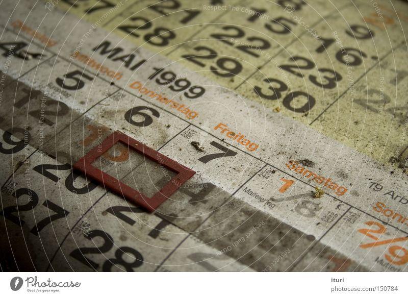 Verdammt lang her. Kalender alt Staub Mai zählen Ziffern & Zahlen Altbier Bezugspunkt zeit Verfall Verlassen Termin & Datum