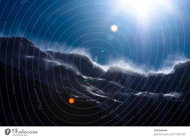 Der Felbertauern II Schnee Sturm Schneesturm Sonne Licht Gegenlicht Berge u. Gebirge Österreich Bundesland Tirol Winter Dampfwolken
