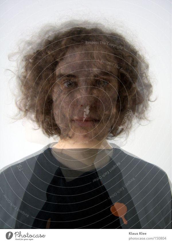 MY TRIP OVER 50 METERS ::::: Frau Porträt Locken glänzend ausgeschnitten Nebel Illusion Rauschmittel Geister u. Gespenster Verzerrung Schrecken Karneval