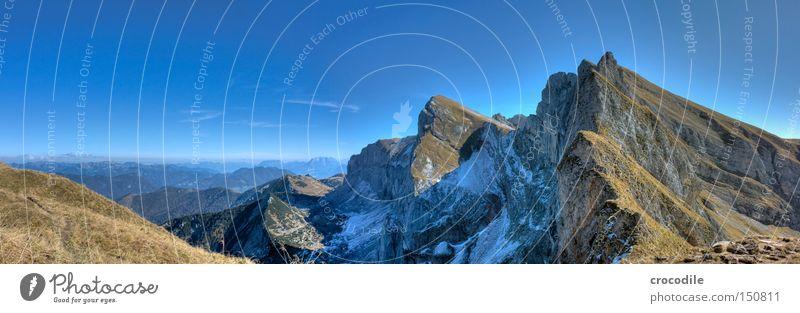 Rofan Himmel Schnee Herbst Gras Berge u. Gebirge groß Felsen hoch Aussicht Klettern Alpen Bergsteigen Panorama (Bildformat) HDR