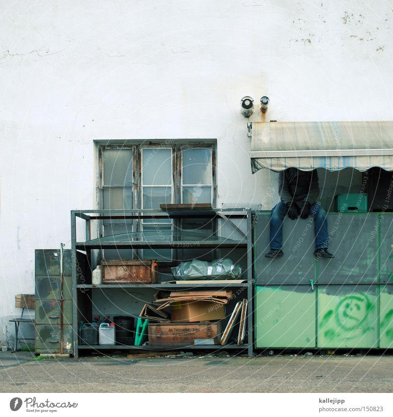 siesta Mann Mensch Werkstatt Arbeit & Erwerbstätigkeit Pause schlafen warten stagnierend Notfall Arbeitslosigkeit geschlossen Kiste Krise