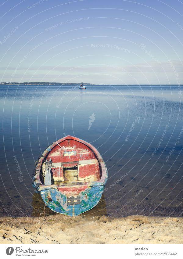 Liegeplatz Landschaft Sand Wasser Erde Wolkenloser Himmel Sonne Winter Wetter Schönes Wetter Küste Strand Bucht Ostsee Menschenleer Schifffahrt Bootsfahrt