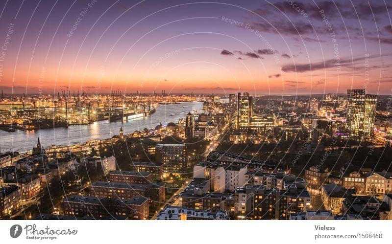 Big City Lights Hamburg Nacht Hafen Lichter Lichtermeer Langzeitbelichtung Sonnenuntergang Elbe beleuchtet Großstadt Dämmerung
