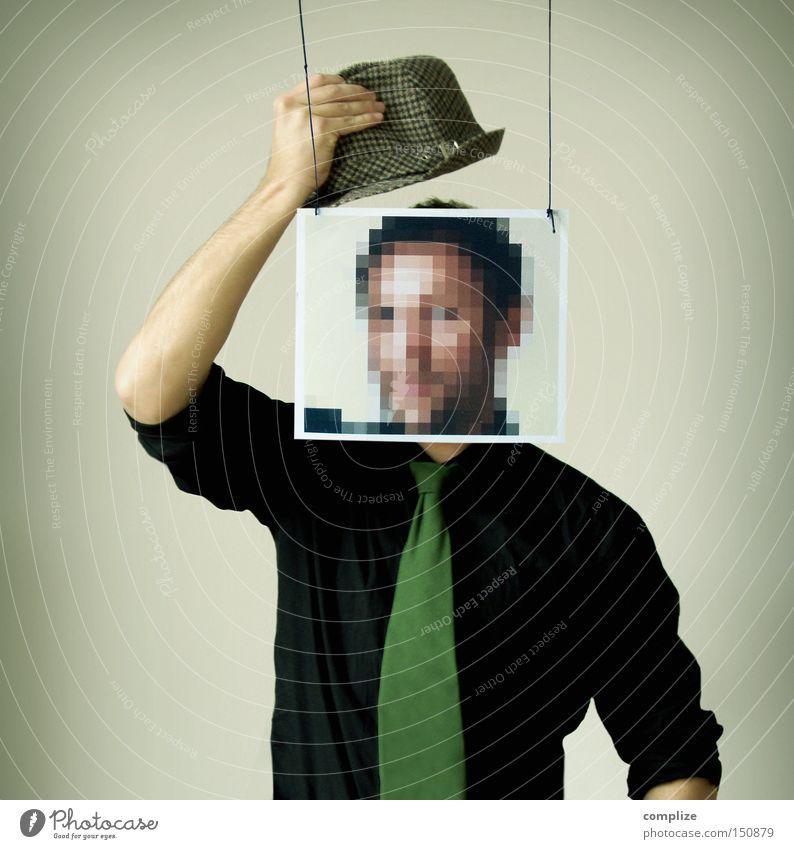 Bonjour Monsieur Pixel Gesicht Mann Erwachsene Neue Medien Hemd Krawatte Maske Hut Kommunizieren Idee Kreativität anmelden anonym Datenschutz Sicherheit