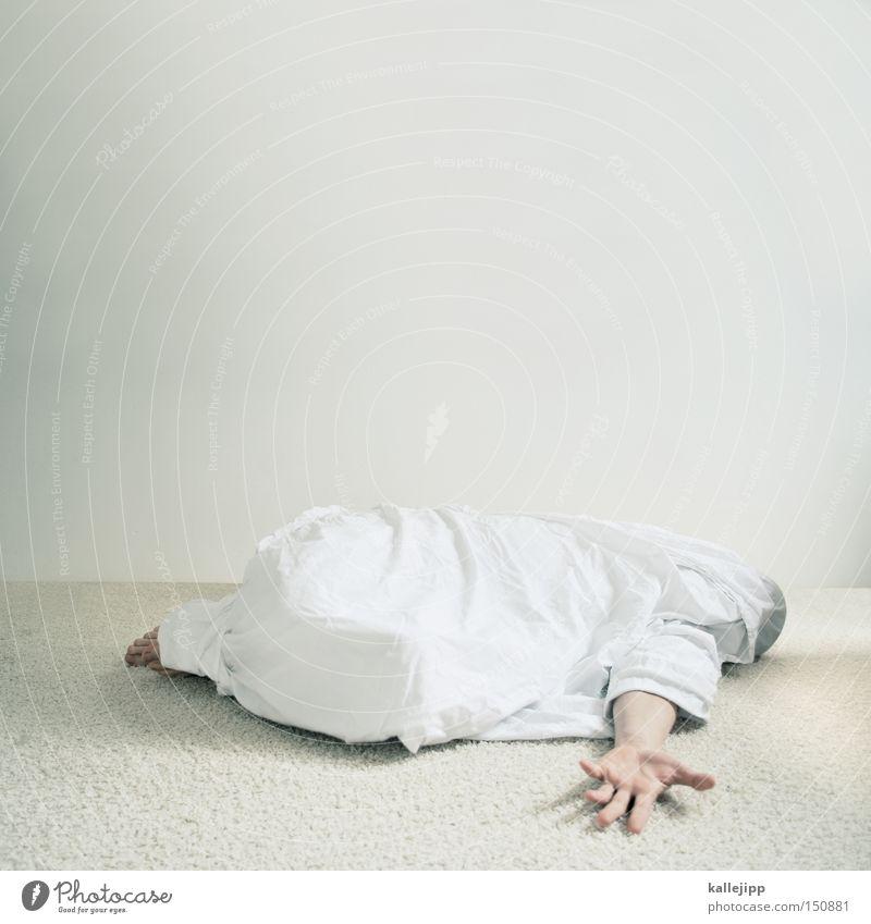 auf die 10 Mensch Leiche Tod Opfer Tuch Hand Arme Körperteile weiß liegen schlafen ohnmächtig Knockout Leben