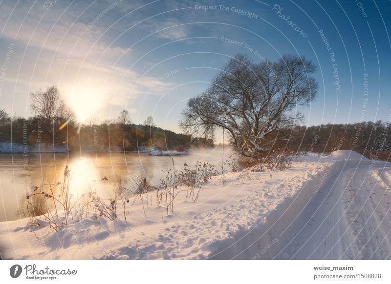 Sonniger Wintermorgen auf einem Fluss Sonne Schnee Natur Landschaft Himmel Wolken Nebel Baum Gras Sträucher Wiese Feld Wald Flussufer blau gelb schwarz weiß