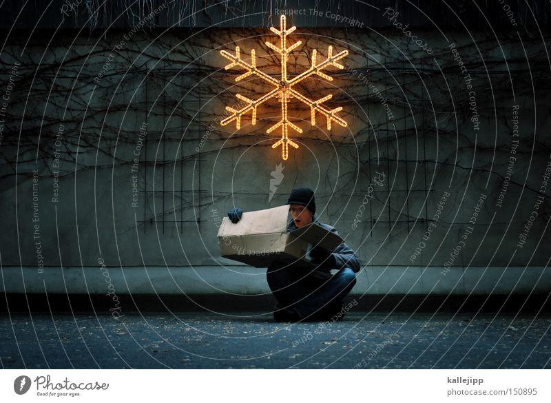 stille nacht Mensch Mann Weihnachten & Advent Freude Geschenk Verpackung Dekoration & Verzierung Post Parkplatz Überraschung Paket Schnee Eiskristall