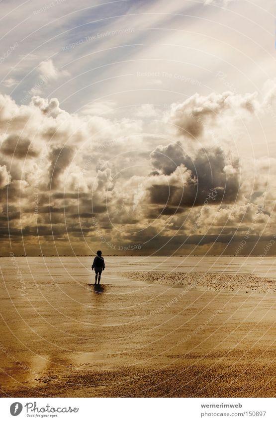 Wattgold Nordsee Meer Wasser Wolken Wolkenformation Schlick Schlamm ruhig Einsamkeit Silhouette Natur wandern Barfuß Licht schön Himmel