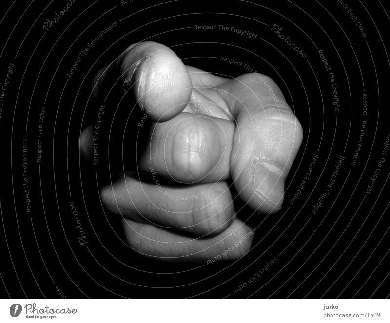 YOU! Hand Finger Fototechnik Schwarzweißfoto Makroaufnahme zeigen