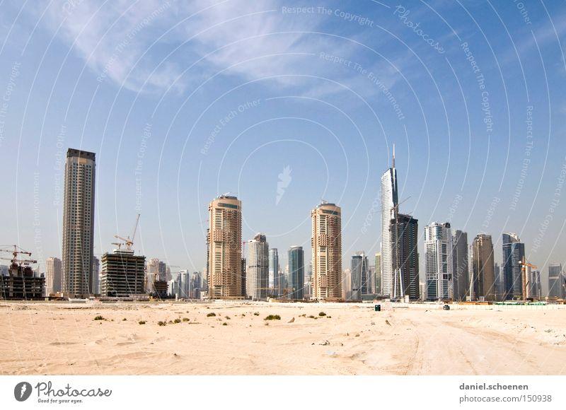 Metropolis 2 Dubai Hochhaus Tourismus Ferien & Urlaub & Reisen Reisefotografie Architektur Gebäude Baustelle Skyline Wüste Vereinigte Arabische Emirate Sand